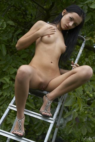 Брюнетка в саду на металлической лестнице фоткает с помощью соседа глубокую щелку